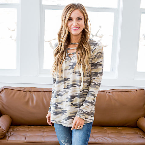 NEW! Lily Soft Camo Hooded Top - Arrow Twenty Two