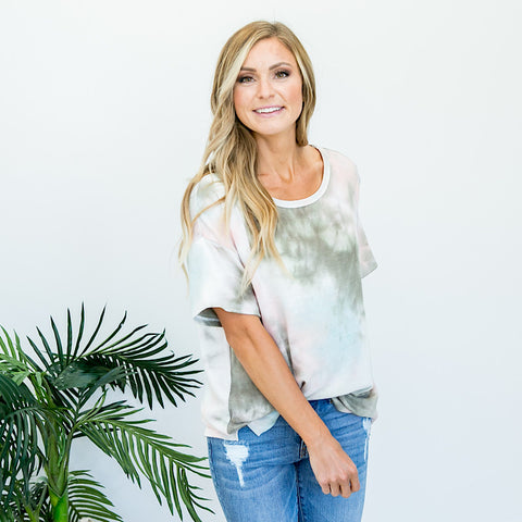 Tori Olive, Pink and Blue Tie Dye Top