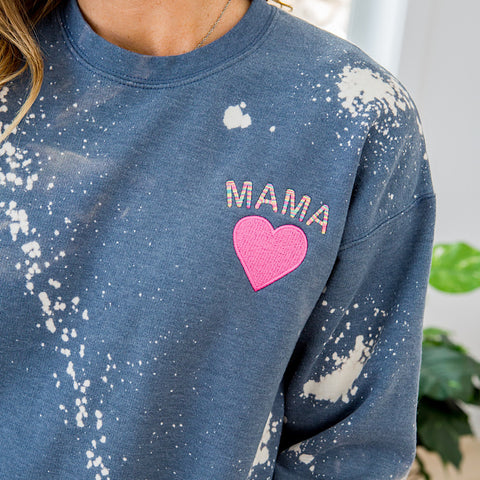 NEW! Mama Bleached Faded Navy Sweatshirt - Arrow Twenty Two