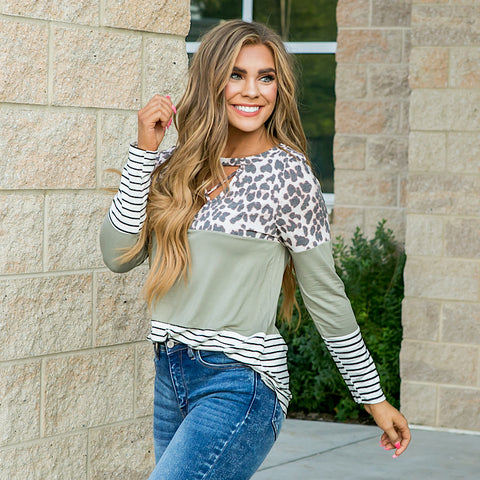 NEW! Cassidy Leopard, Olive and Stripe Color Block Top