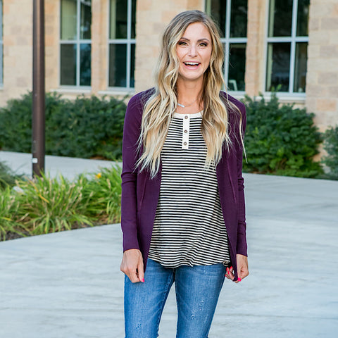 Favorite Cardigan - Dark Purple