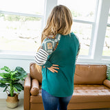Eden Hunter Green Aztec and Stripe Sleeve V Neck Top - Arrow Twenty Two