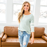 NEW! Reese Heathered Mint 3/4 Sleeve Button Up Top - Arrow Twenty Two