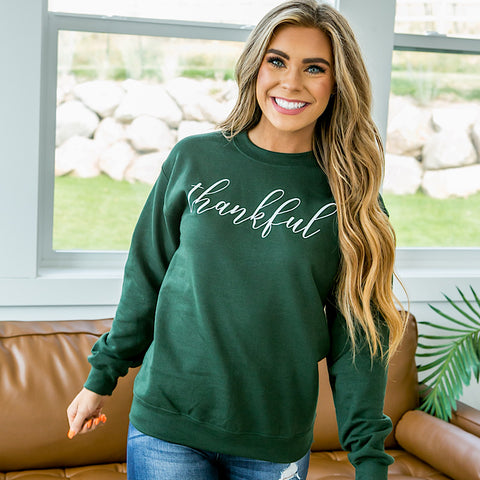 "NEW! Forest Green ""Thankful"" Sweatshirt"