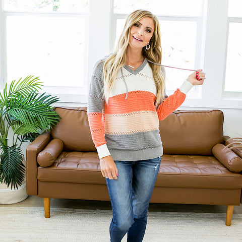 NEW! Jene Gray and Melon Hoodie Sweater