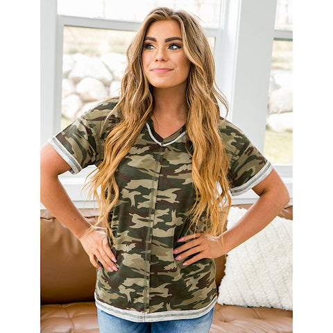 NEW! Monica Camo Stitch Detail V Neck - Arrow Twenty Two