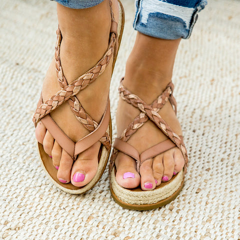 NEW! Blowfish Foxtail Sandals - Rose Gold