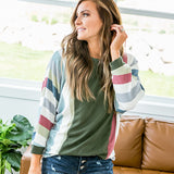 NEW! Harmony Hunter Green 3/4 Sleeve Top with Striped Sleeves - Arrow Twenty Two