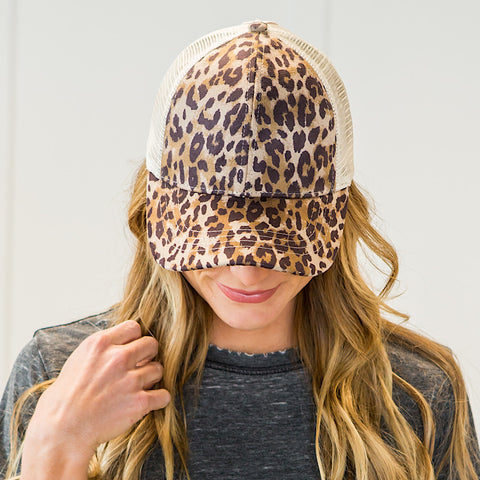 NEW! CC Leopard Ponytail Baseball Cap