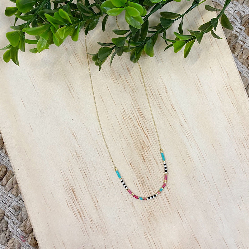 Pink, Mint and Black Beaded Necklace - Arrow Twenty Two