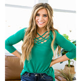 NEW! Kelly Green Criss Cross Tunic - Arrow Twenty Two