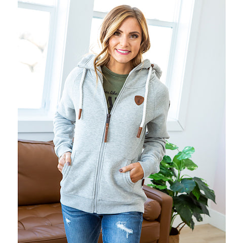 Wanakome Hera Full Zip Hoodie - Light Heather Gray - Arrow Twenty Two