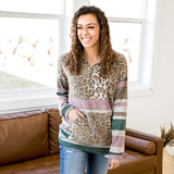 NEW! Kendra Leopard, Teal and Lavender Half Zip Pullover - Arrow Twenty Two