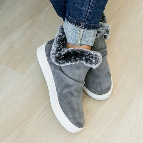 Plush Fur Lined Bootie - Gray - Arrow Twenty Two