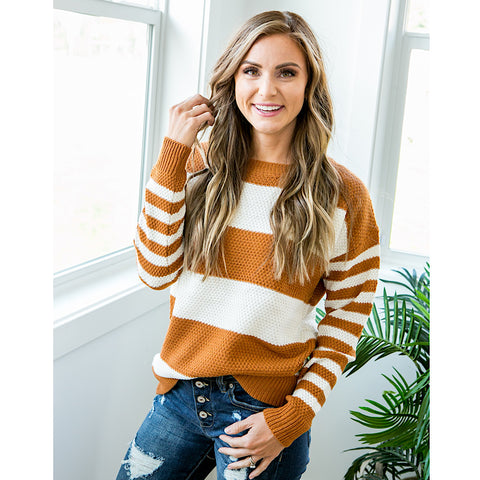 NEW! Kinley Caramel and Ivory Striped Sweater - Arrow Twenty Two