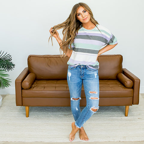 NEW! Lavender, Mint and Charcoal Striped Top - Arrow Twenty Two