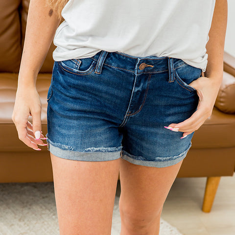 NEW! Judy Blue Gwen Non Distressed Rolled Hem Shorts