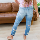 NEW! KanCan Rainbow Light Wash Distressed Jeans - Arrow Twenty Two