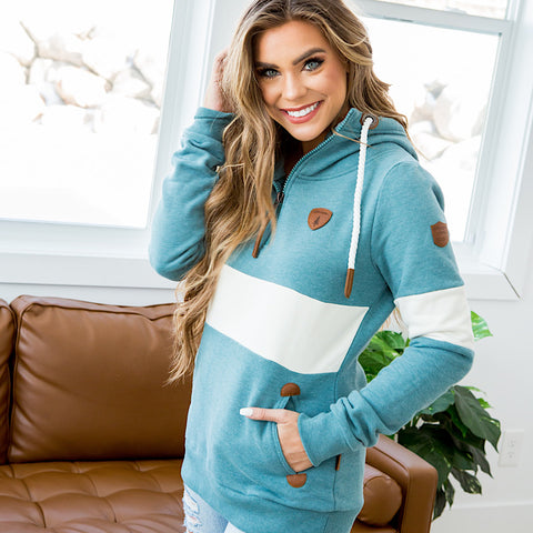 Wanakome Delia Half Zip Hoodie - Stormy Teal - Arrow Twenty Two