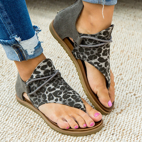 NEW! Very G Angelika Gray Leopard Sandals - Arrow Twenty Two
