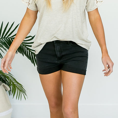 NEW! Black Rolled Hem Shorts