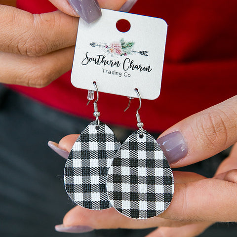 NEW! Black and White Buffalo Plaid Teardrop Earrings - Arrow Twenty Two