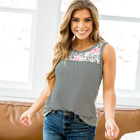 NEW! Kacie Stripe, Floral and Leopard Tank
