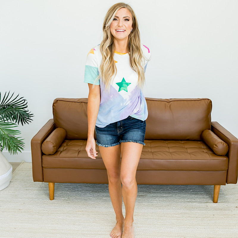 Blue and Lavender Tie Dye Top with Star V Detail - Arrow Twenty Two
