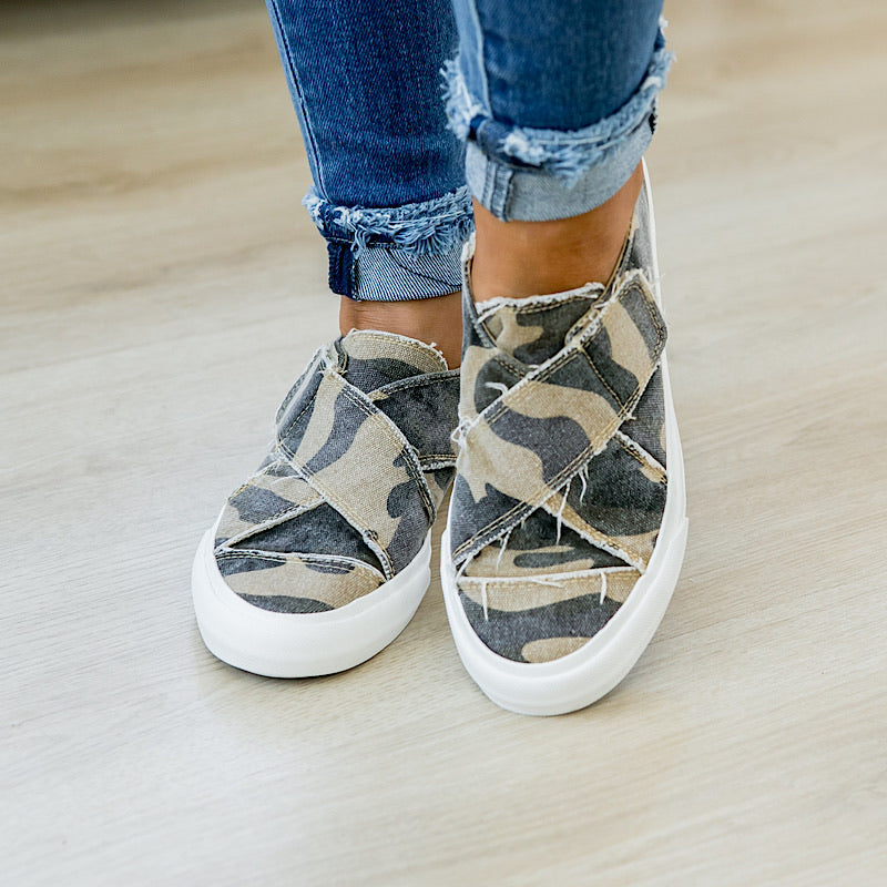 NEW! Ivette Criss Cross Camo Slip on Sneaker - Arrow Twenty Two