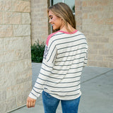 NEW! Rosie Brick, Leopard and Stripe V Neck Top - Arrow Twenty Two