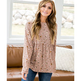 NEW! Iris Light Mocha Floral Babydoll Top - Arrow Twenty Two