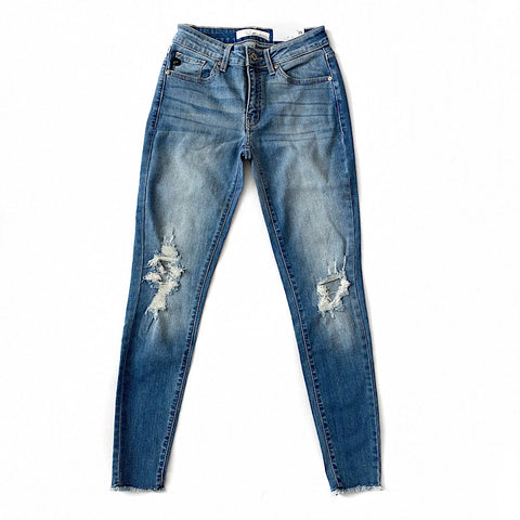 NEW! Distressed Knee and Fray Bottom Jeans