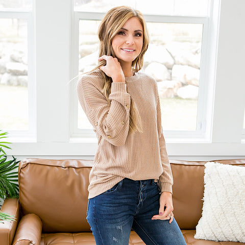NEW! Robin Button Sleeve Waffle Sweater - Light Mocha