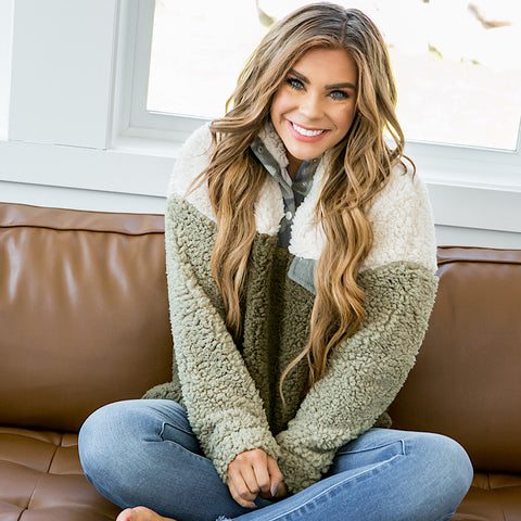 NEW! Olive, Cream and Camo Sherpa Pullover - Arrow Twenty Two