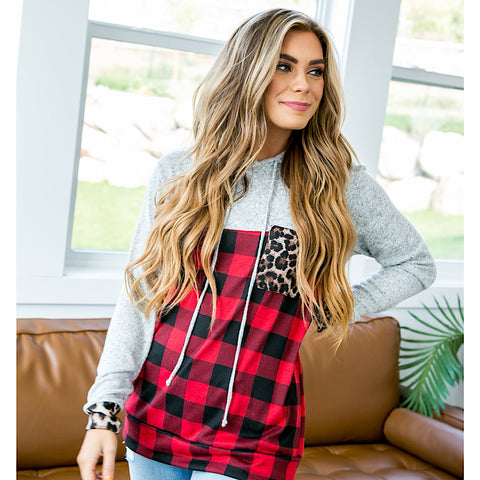 Jordan Heather Gray, Buffalo Plaid and Leopard Hooded Top - Arrow Twenty Two
