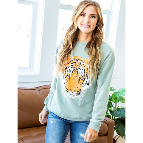 NEW! Sage Tiger Sweatshirt - Arrow Twenty Two
