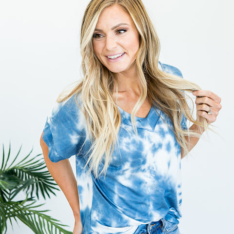 Carly Blue Tie Dye V Neck Top - Arrow Twenty Two