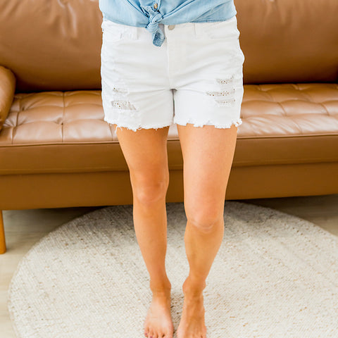 NEW! Judy Blue Haven White Distressed Shorts