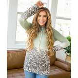 NEW! Angelina Sage Ombre and Leopard Hooded Top - Arrow Twenty Two