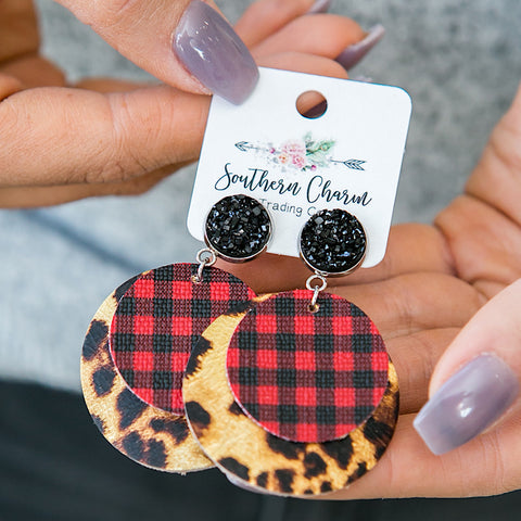 NEW! Red Buffalo Plaid and Leopard Layered Earrings - Arrow Twenty Two