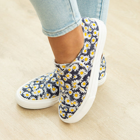 Gypsy Jazz Ivory Slip on Sneaker - Navy & Yellow - Arrow Twenty Two