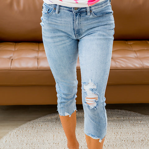 NEW! KanCan Medium Wash Distressed Capris - Arrow Twenty Two