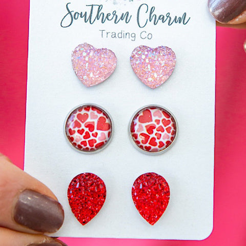 NEW! Pink Crystal Hearts, Pink and Red Hearts and Red Teardrop Earrings Set - Arrow Twenty Two