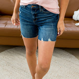 Judy Blue Morgan Dark Wash Frayed Hem Shorts - Arrow Twenty Two