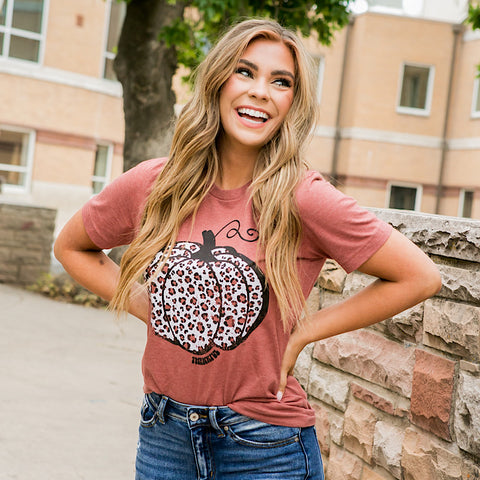 NEW! Rust Leopard Pumpkin Tee