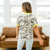 Carly Faded Camo Top with Neon Details - Arrow Twenty Two