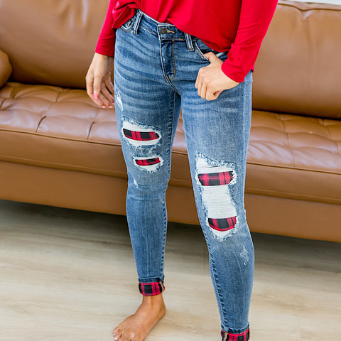 NEW! Judy Blue Charlie Plaid Patch Jeans - Regular and Plus!