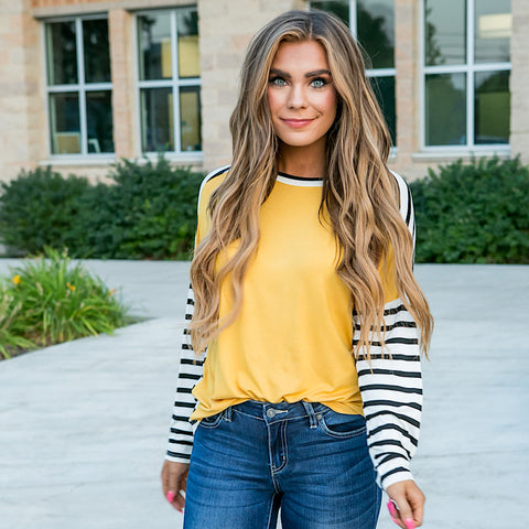 Hattie Mustard Striped Top - Arrow Twenty Two
