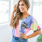 Rainbow Tie Dye Top with Leopard Details - Arrow Twenty Two