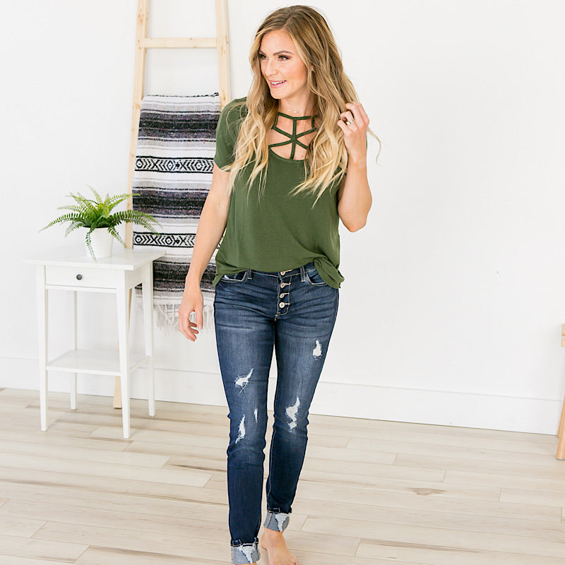 Lucy Caged Top - Olive - Arrow Twenty Two